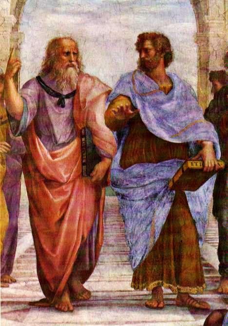 Dans son tableau célèbre, L'école d'Athènes, le peintre Raphaël met en scène les savants philosophes de l'Antiquité. Sur ce détail on peut voir Platon à gauche et Aristote à droite. Platon, avec le visage de Léonard de Vinci, montre le ciel, indiquant par là que la connaissance prend ses racines dans le monde des idées (le Timée est visible dans sa main gauche). À l'inverse, Aristote montre le sol et donc l'expérience comme source de la connaissance. Il tient son ouvrage sur l'éthique dans sa main gauche. © abyss.uoregon.edu