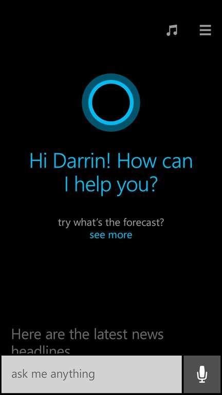L'une des principales annonces de la conférence Build de Microsoft fut celle de l'assistant vocal Cortana. Présent dans la mise à jour Windows Phone 8.1 (en version anglaise dans un premier temps), cet équivalent du Siri d'Apple permettra aux usagers d'effectuer des recherches en langage naturel et de contrôler certaines fonctions de leur smartphone. Sous réserve d'accord préalable de l'utilisateur, Cortana observera ses habitudes (trajets fréquents, contacts les plus souvent appelés, sites Web favoris) afin de personnaliser son interaction. © Microsoft