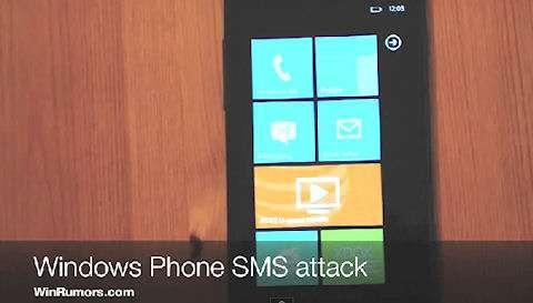 La réception d'un message sur l'écran d'accueil de Windows Phone 7 peut entraîner son blocage, et être le signe d'un piratage du téléphone. © WinRumors
