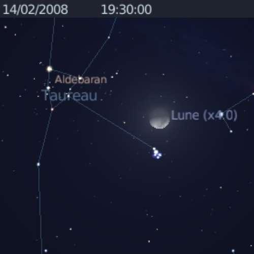 La Lune est en rapprochement avec les Pléiades et l'étoile Aldébaran