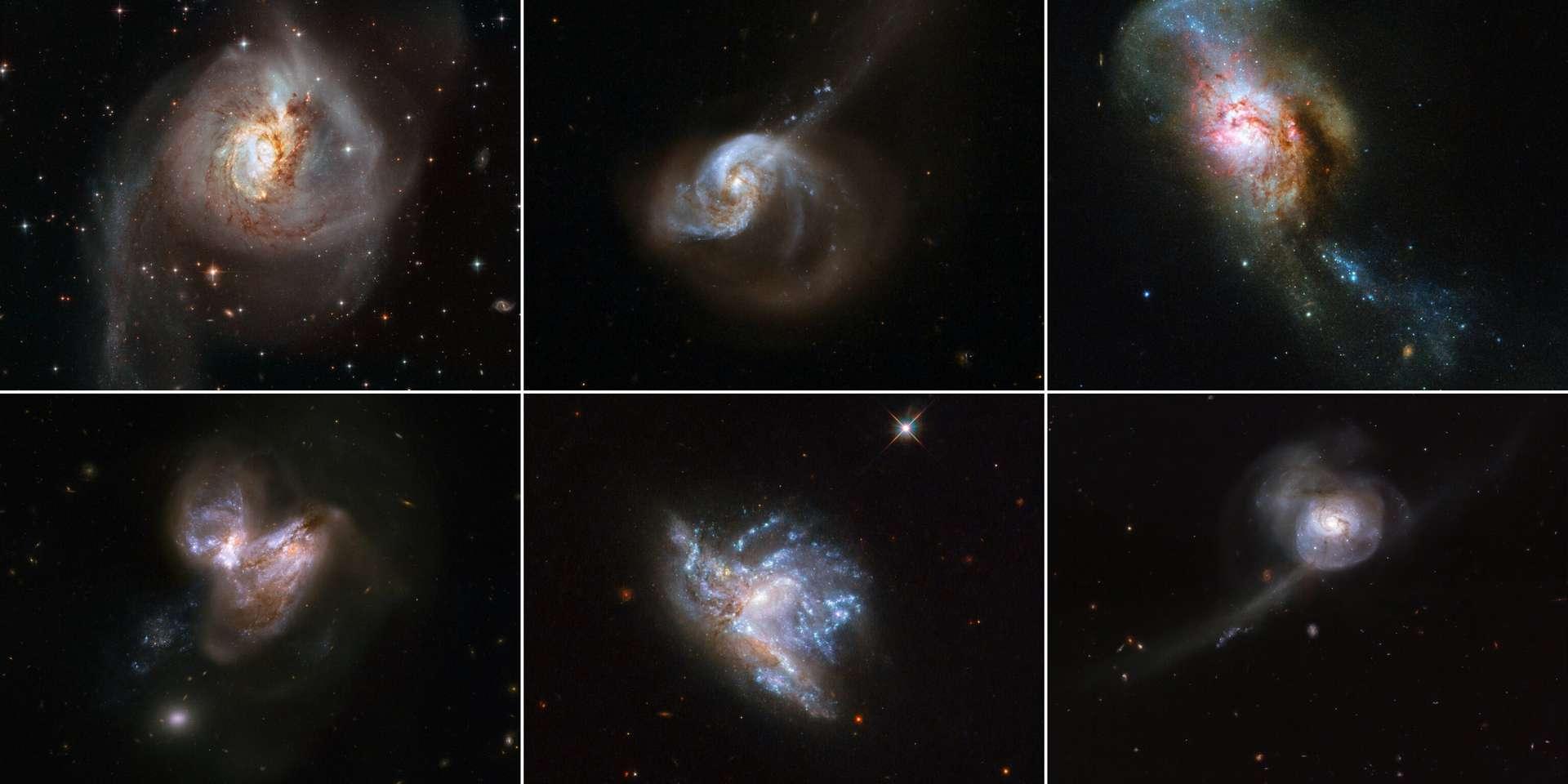 Mosaïque des six collisions cosmiques. © ESA, Hubble & NASA, A. Adamo et al.