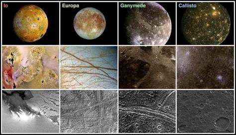 Les satellites galiléens de Jupiter, vue d'ensemble et surface. © DR