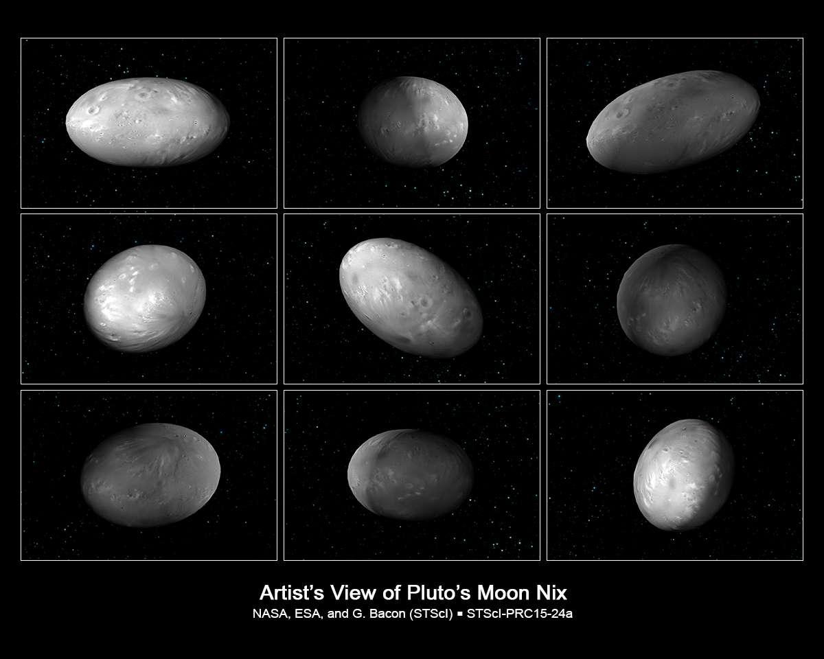Ces images sont extraites d'une simulation des mouvements de rotation chaotiques de Nix, une des lunes de Pluton. Ces mouvements sont causés à la fois par le champ de gravitation complexe et dynamique du système Pluton-Charon et par la forme de Nix. © Nasa, ESA, M. Showalter (SETI Institute) et G. Bacon (STScI)
