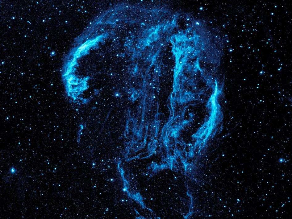 L'observatoire astronomique américain Galex a photographié en ultraviolet l'ensemble du rémanent de supernova dans la constellation du Cygne. © Nasa