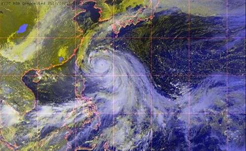 Le typhon Wipha aborde la Chine. Crédit NASA.