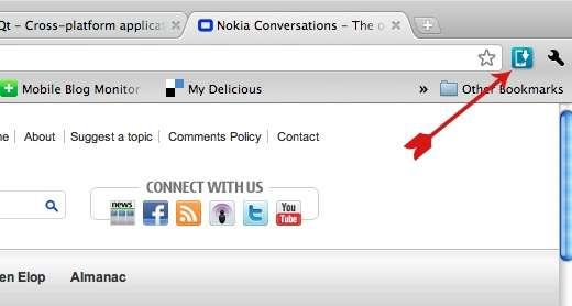 L'extension Nokia Drop dans le navigateur Chrome. © Nokia
