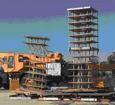 Des tests de résistance aux séismes sont régulièrement effectués. À gauche, un modèle classique de bâtiment, et à droite, un modèle à isolement bas. © Shustov, Wikipédia, GNU 1.2