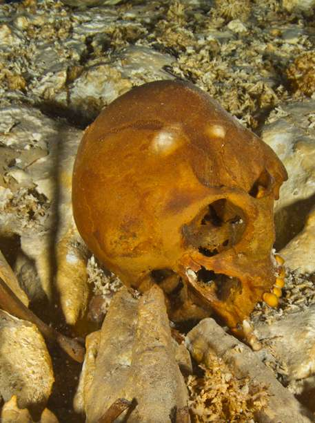 Les explorateurs furent choqués à la vue, dans l'eau transparente, des orbites noires et des dents très bien conservées du crâne fossile de l'une des premières Amérindiennes du continent. © Roberto Chavez Arce