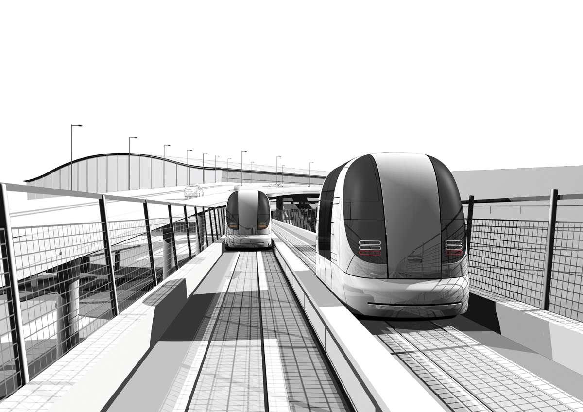 Dessin du futur UltraPRT, système de transport en cours d'installation à l'aéroport d'Heathrow. Les véhicules se déplacent sur des voies en béton et transportent 4 à 6 personnes avec leurs bagages. © Advanced Transport Systems