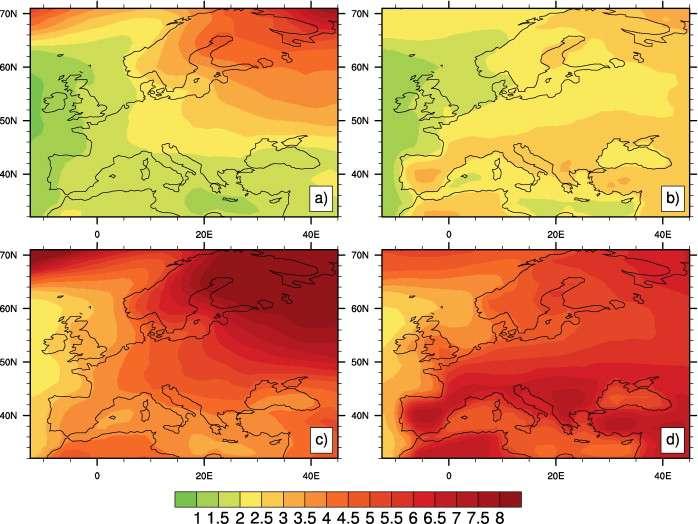 Les anomalies de température par rapport à la période 1900-1929 et projetées sur l'Europe pour la saison d'hiver (a) et d'été (b) dans un futur proche. Les prévisions pour la fin du siècle sont aussi projetées pour la saison d'hiver (c) et d'été (d). © Terray et al., Comptes Rendus Geoscience