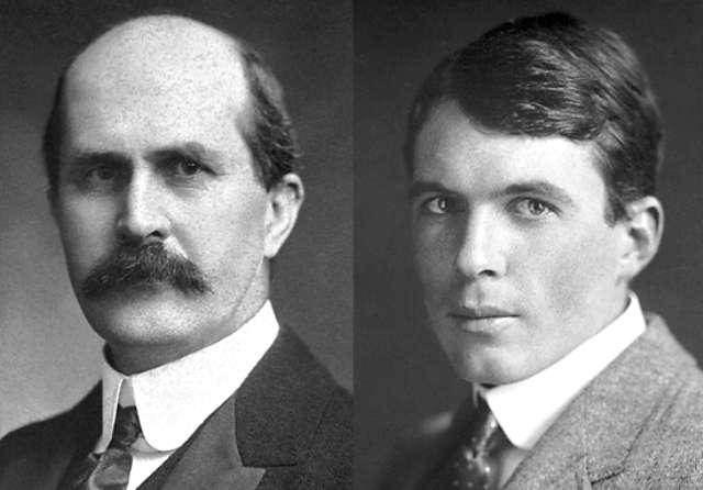 De gauche à droite, les physiciens et chimistes britanniques William Henry Bragg (1862-1942) et son fils William Lawrence Bragg (1890-1971). Ils ont reçu le prix Nobel de physique en 1915. William Lawrence Bragg, le plus jeune prix Nobel de physique, a découvert une relation (la loi de Bragg) qui, à partir d'un diagramme de diffraction de rayons X, permet de connaître les distances entre plans atomiques à l'intérieur d'un cristal. © Nobel Media AB 2014