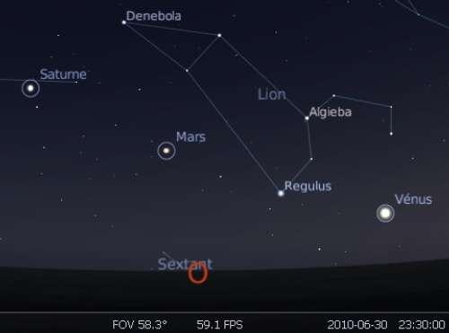 Les planètes Saturne, Mars et Vénus et l'étoile Régulus forment un alignement dans le ciel