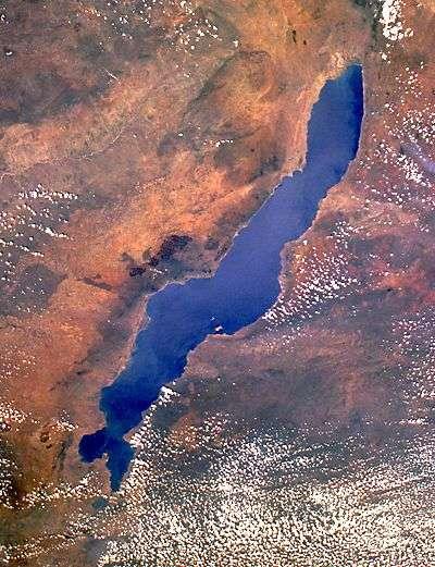 Le lac Malawi vu par satellite. Crédit Nasa