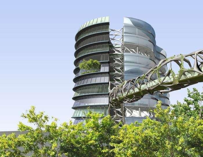 Une des études emblématiques de l'architecte australien Oliver Foster, qui intègre de multiples cultures et même des unités aquacoles. La production fournirait des boutiques d'alimentation et des restaurants tandis que l'installation recyclerait les déchets. © Oliver Foster