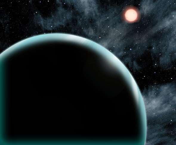 Illustration de Kepler-421b, exoplanète de la taille d'Uranus gravitant au-delà de la « ligne de glace ». Au cours des 4,3 années d'observation du satellite Kepler, l'astre n'est passé que deux fois devant son étoile, la naine orange Kepler-421 distante de 1.000 années-lumière de la Terre. © David A. Aguilar (CfA)