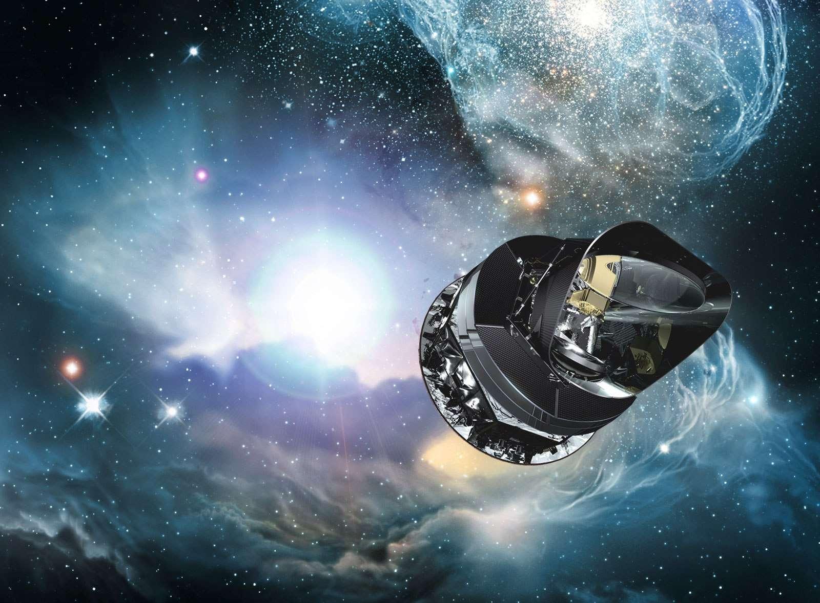 Une vue d'artiste du satellite Planck de l'ESA étudiant le rayonnement fossile. © ESA