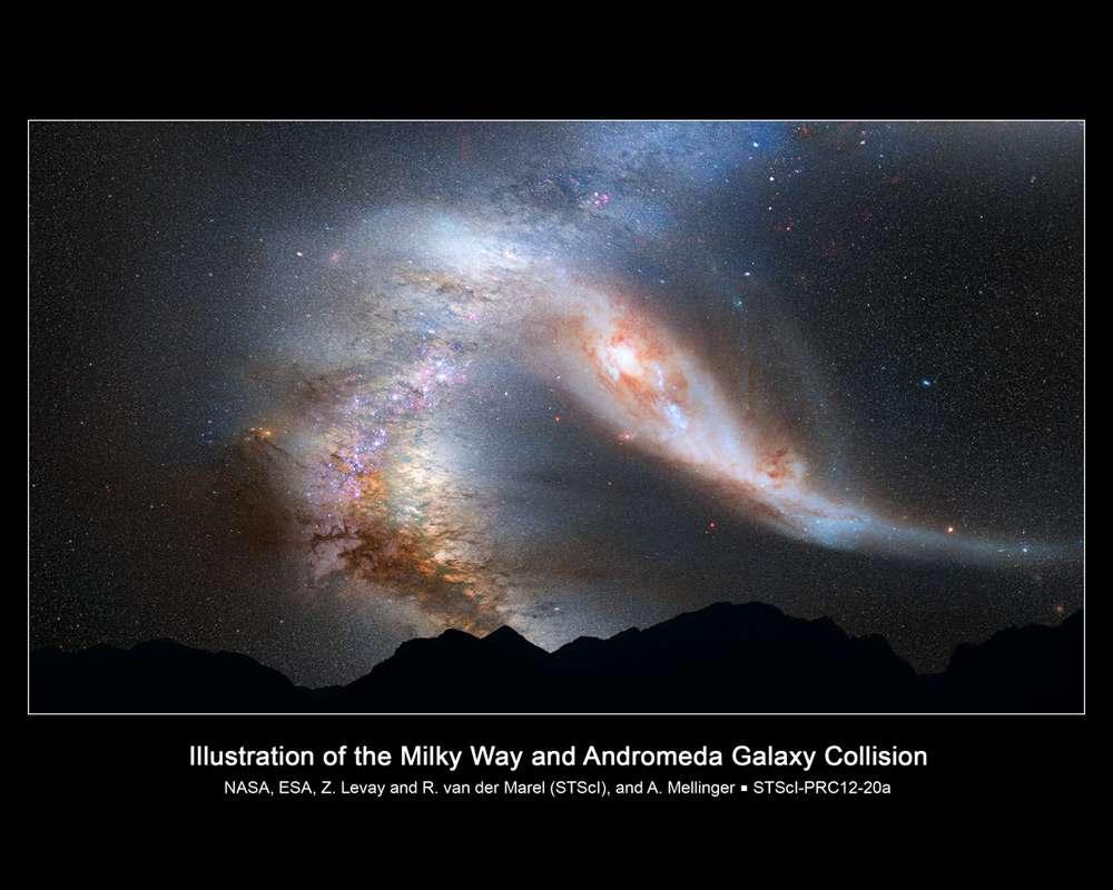 Une vue d'un aspect possible de la voûte céleste dans 4 milliards d'années. Le disque de la Voie lactée apparaîtra comme très déformé ainsi que celui de la galaxie d'Andromède que l'on voit sur la droite. Il y a 10 milliards d'années, une exoterre dans la Voie lactée permettait peut-être déjà d'admirer une telle collision selon la théorie Mond. © Nasa, Esa, Z. Levay and R. van der Marel (STScI), T. Hallas et A. Mellinger