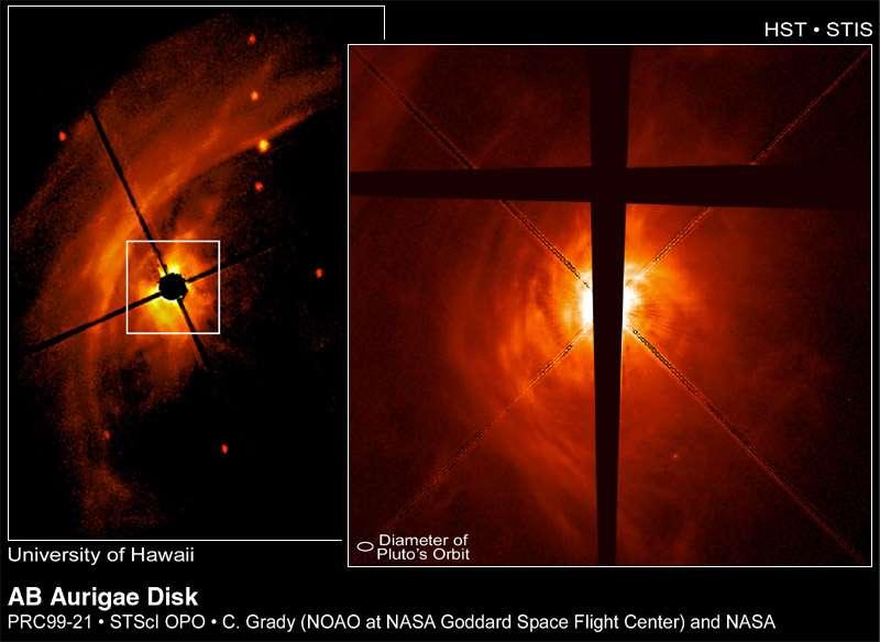 Une série d'images de AB Aurigae prises par Hubble en 1999. © Nasa Goddard Space Flight Center/P. Kalas