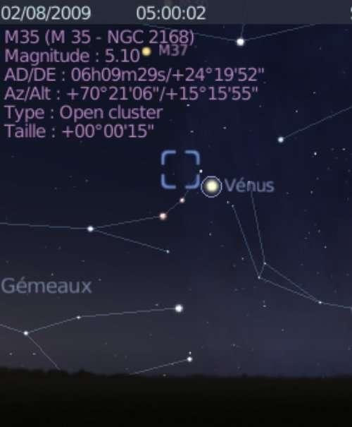 La planète Vénus est en rapprochement avec l'amas ouvert M35