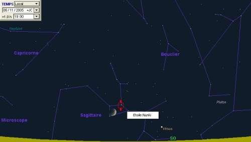 La Lune sera proche de l'étoile Nunki
