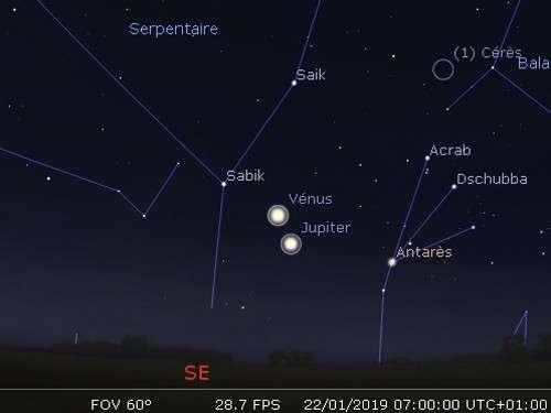 Vénus en rapprochement avec Jupiter