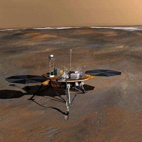 Phoenix sur le sol martien (vue d'artiste). Crédit : NASA.
