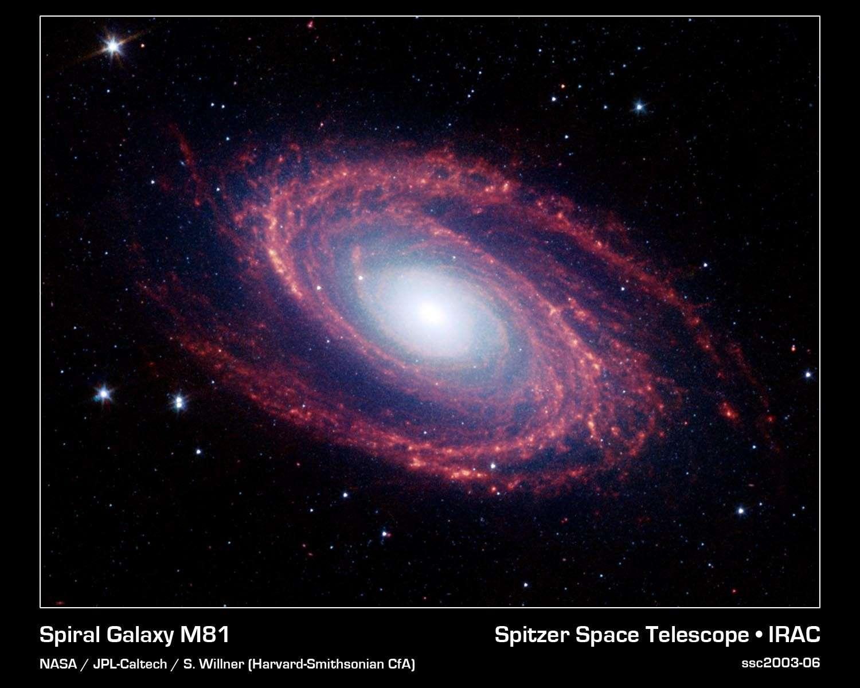 La galaxie M 81 vue par le télescope spatial Spitzer. Crédit Nasa