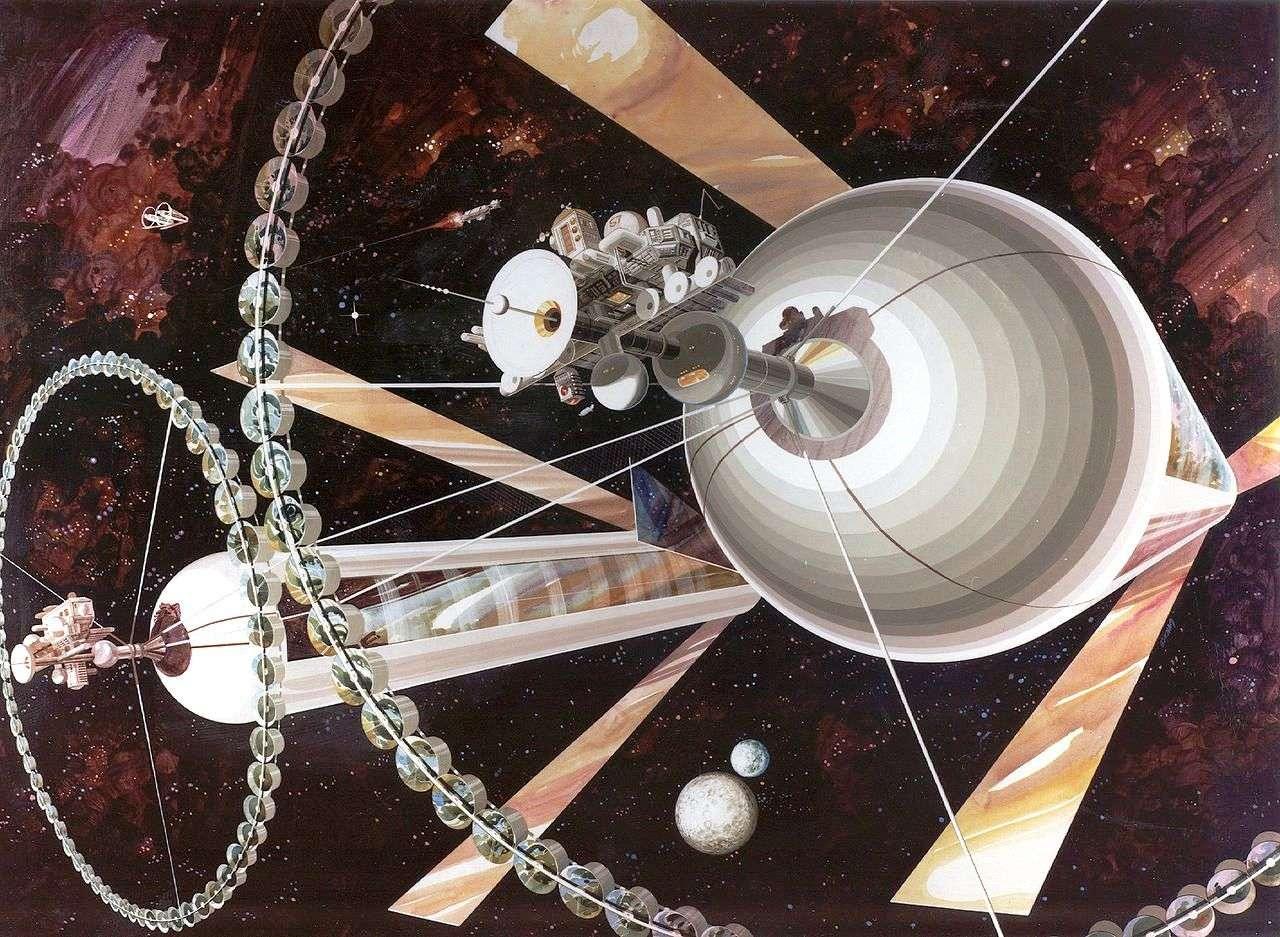 Au début des années 1970, le physicien Gerard K. O'Neill, surfant sur la vague du projet Apollo, a proposé à ses étudiants de l'Université de Princeton d'apprendre à devenir physicien en réfléchissant sur la possibilité de coloniser l'espace à partir de leurs cours de physique. Les résultats seront stimulants. Pour O'Neill, ses étudiants et ses collègues, les colonies spatiales qu'ils ont étudiées seraient l'occasion pour l'Humanité de repartir sur de nouvelles bases, de transférer l'industrie et une population grandissante dans l'espace et de permettre à la Terre de sortir du « coma écologique » dans lequel un développement industriel frénétique et anarchique l'ont fait sombrer. On voit une de ces colonies sur cette image d'artiste. L'idée a été reprise dans Interstellar où l'une d'entre-elles sert d'étape à l'humanité avant de s'aventurer dans un voyage interstellaire. © DP, Wikipédia, Rick Guidice