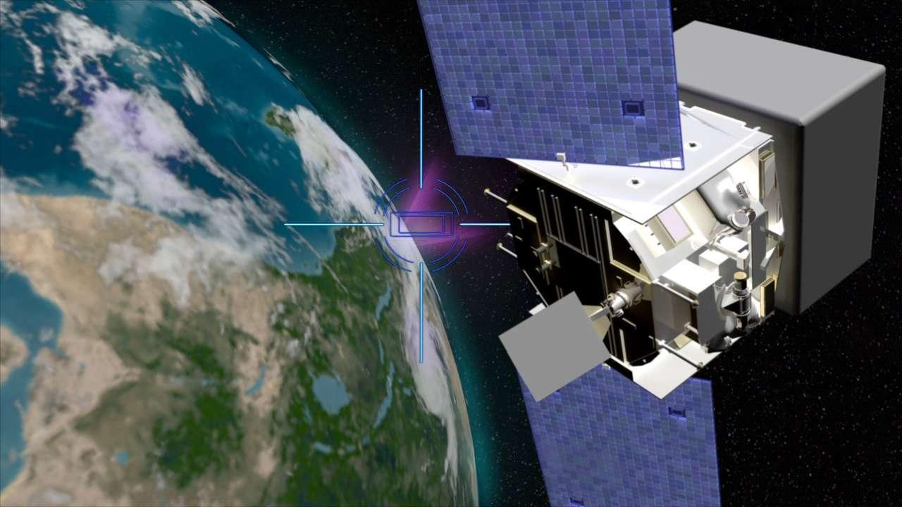 Le satellite Fermi avec à l'horizon un TGF représenté sur cette vue d'artiste en mauve. © Nasa/Goddard Space Flight Center