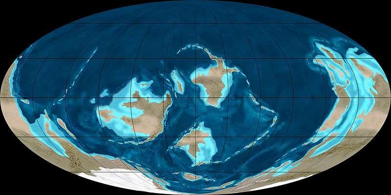 Il y a environ 488 millions d'années, au début de l'Ordovicien, les plantes n'étaient pas encore présentes sur le sol terrestre © Dr Ron Blakey, Wikipédia, cc by sa 3.0