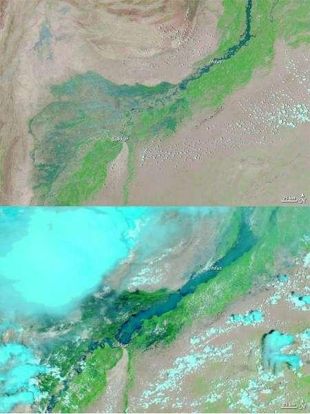 Deux vues du Pakistan réalisées par le satellite Aqua à l'aide de son imageur Modis (Moderate Resolution Imaging Spectroradiometer). Elles montrent la vallée de l'Indus, ce fleuve qui descend de l'Himalaya (ici en haut à droite, et non visible). L'image du haut date du 18 juillet 2010, celle du bas a été prise le 8 août. © Nasa