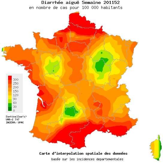 Six régions françaises ont dépassé le seuil épidémique pour la gastroentérite. La maladie risque encore de s'étendre. © Réseau Sentinelles