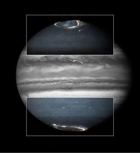 Aurores sur Jupiter causées par des particules chargées observées par Hubble. Crédit : Nasa