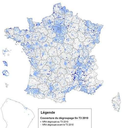 Répartition géographique du dégroupage en France (2010). © ariase.com