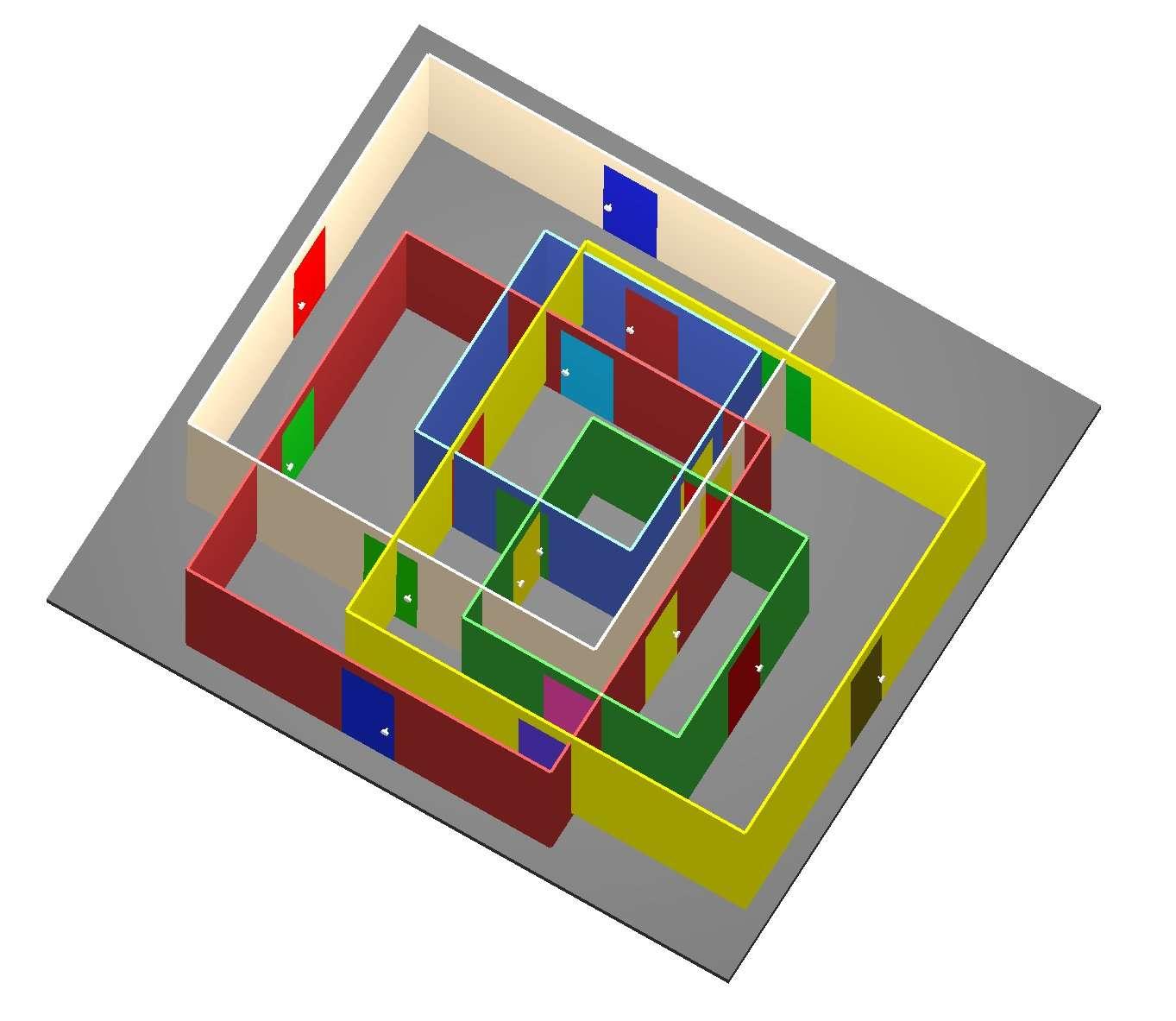 Exemple du type de configuration virtuelle que l'algorithme Flexible Spaces peut générer de façon aléatoire. L'utilisateur navigue en passant par des couloirs qui sont réorientés dynamiquement, à chaque fois qu'il quitte une pièce, en empruntant la porte de son choix. Ceci lui donne l'illusion de circuler librement, alors qu'en réalité il suit un parcours circulaire. © Université technique de Vienne