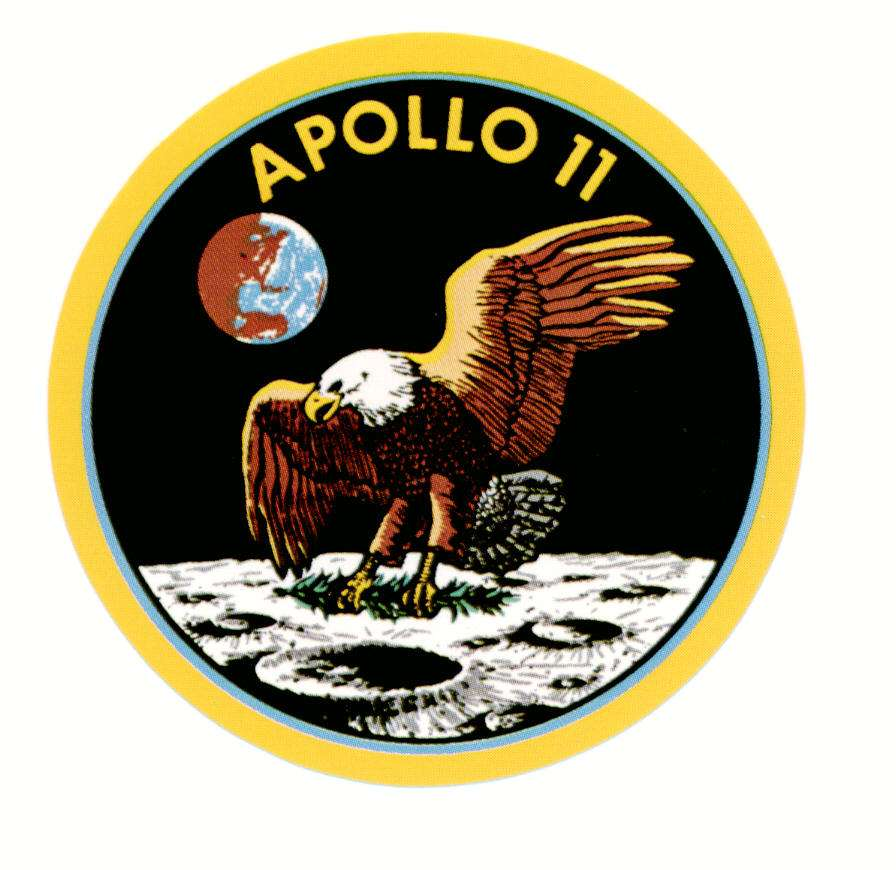 Le sigle (patch en anglais) de la mission Apollo 11. L'aigle (symbole des Etats-Unis et nom de baptême du LM, Eagle) apporte sur la Lune un rameau d'olivier, en signe de paix. © Nasa