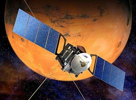 Mars Express en orbite martienne (vue d'artiste). Crédit Esa
