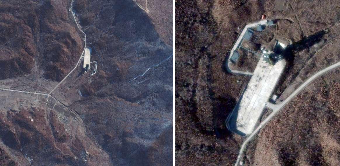 Des vues satellites du site de lancement nord-coréen de Sohae acquises par DigitalGlobe, fin novembre 2012, ont montré qu'un nouveau lancement se préparait. Ce site avait été découvert par DigitalGlobe en 2008. © DigitalGlobe