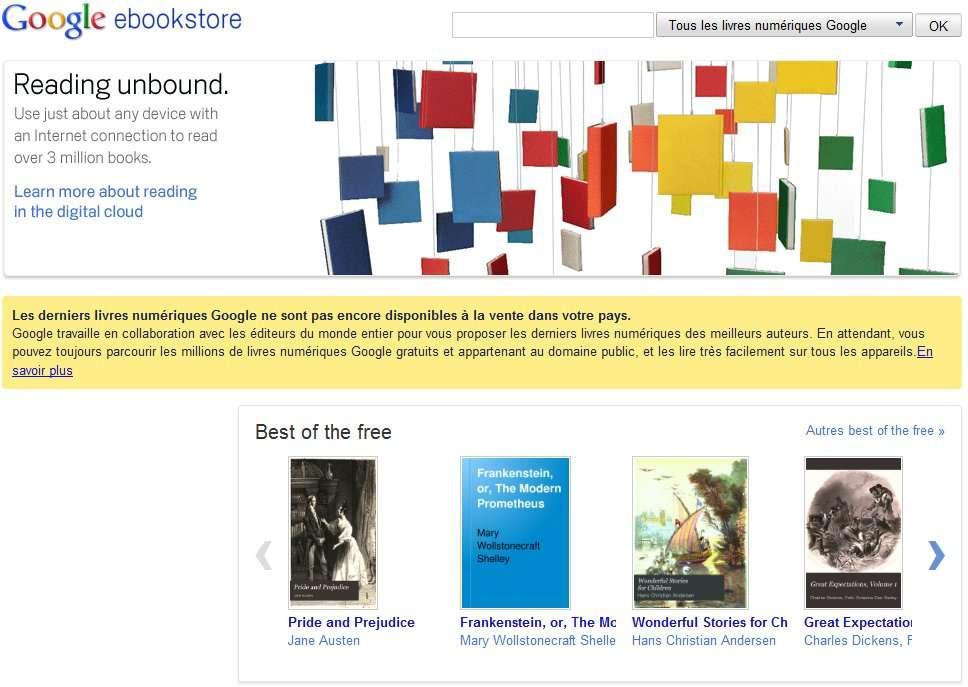 La boutique eBooks Store est ouverte aux États-Unis, en attendant une percée européenne. © Google