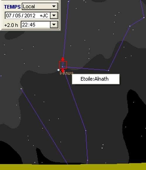 Vénus en rapprochement avec Alnath