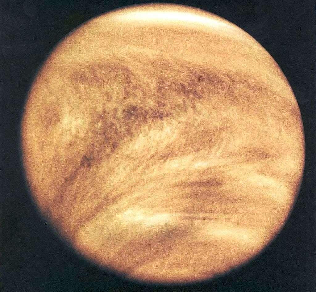 La sonde Pioneer Venus Orbiter a observé dans l'ultraviolet l'atmosphère de Vénus en 1979. Voici l'image qu'elle a obtenue. On pense maintenant que l'atmosphère de Vénus a empêché sa rotation propre de devenir synchrone avec sa révolution autour du Soleil. Le même phénomène permettrait aux exoplanètes douées d'atmosphère et proches des naines rouges de ne pas avoir une rotation synchrone. © Nasa
