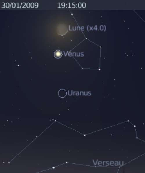 La Lune est en rapprochement avec les planètes Vénus et Uranus