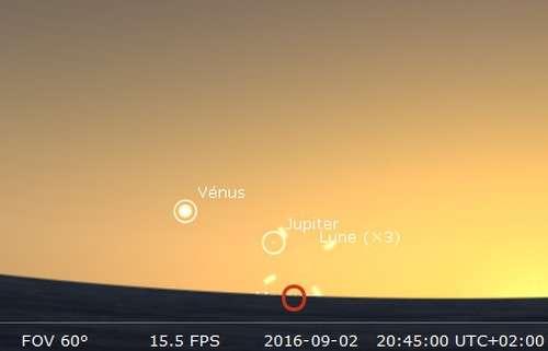 Jupiter en rapprochement avec la Lune. © Futura-Sciences