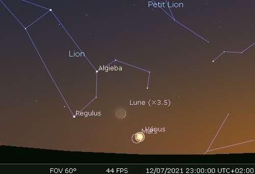 La Lune en rapprochement avec Vénus, Mars et Régulus