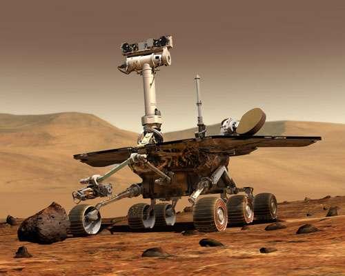 Une vue d'artiste de Spirit ou d'Opportunity (puisque les deux rovers sont identiques) du temps de leur splendeur. © Nasa