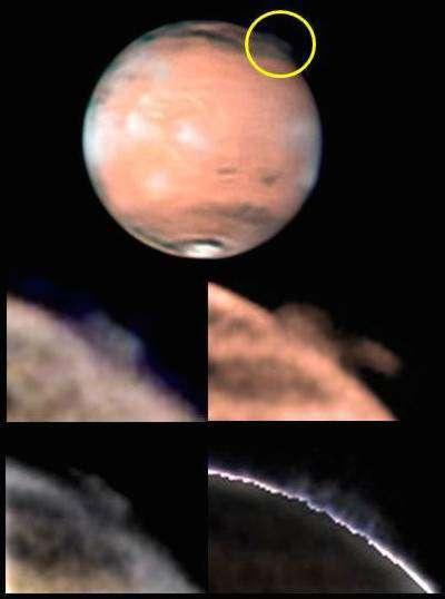Les panaches énigmatiques de Mars pourraient être des nuages de glace d'eau, de cristaux de dioxyde de carbone, ou bien encore de poussière. Leur altitude élevée reste une énigme. © Esa, Nasa, Hubble Science Team