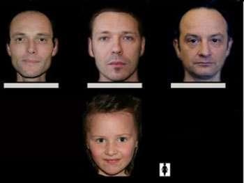 Exemple de photos présentées aux juges externes. Avez-vous reconnu le père de cette fillette ? Il s'agit de l'homme de gauche…. © Isem (CNRS – Université Montpellier 2)