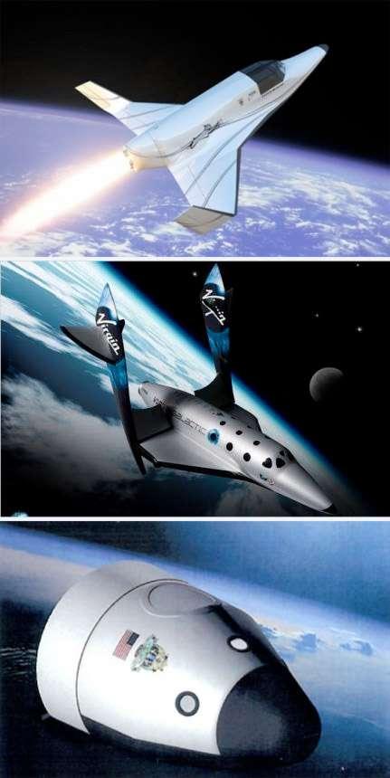 La première génération d'avions spatiaux susceptibles de voir le jour. De haut en bas, le Lynx I, le SpaceShipTwo et le New Shepard de Blue Origin. © Droits réservés