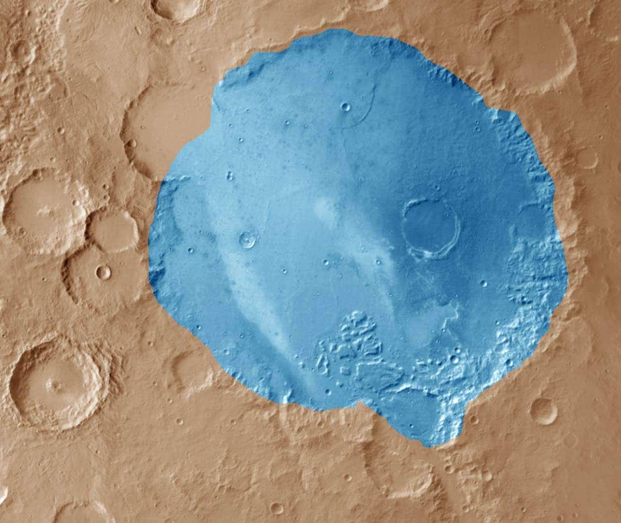 Illustration du lac Gusev formé par l'inondation d'un cratère vaste de plus de 160 km de diamètre. © Nasa, JPL, Sci-News