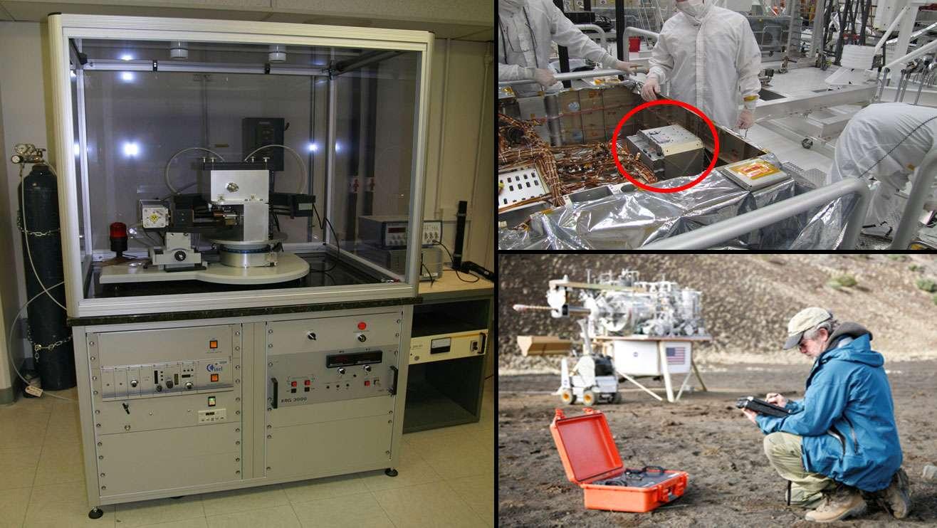 ChemMin regroupe deux instruments, dont un appareil à diffraction des rayons X, du même type que ceux employés dans les laboratoires, comme celui que l'on voit ici à gauche et qui sert à déterminer la structure d'un minéral cristallin. Celui embarqué sur Curiosity, en haut à droite dans le cercle rouge, est notablement plus compact, prenant la forme d'un cube de 25 cm de côté. Une version à usage terrestre a été réalisée par la Nasa : on la voit en bas à droite, dans la valise. © Nasa/Ames/JPL-Caltech